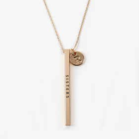 Custom Message Engraved Gold Metal Bar Necklace w/ Initial Charm