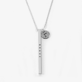 Custom Message Engraved Silver Metal Bar Necklace w/ Initial Charm