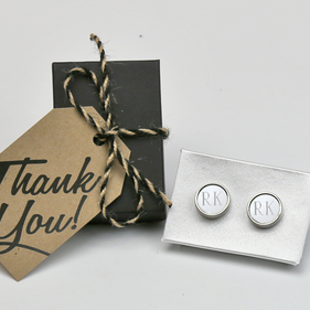 Custom Metal Initial Cufflinks Gift Boxed