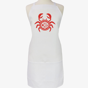 Custom Monogram Crab Adult Apron