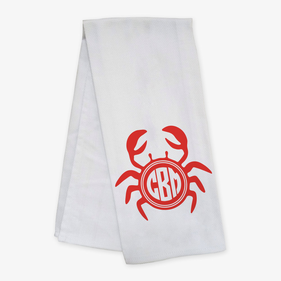 Custom Monogram Crab Bar Towel