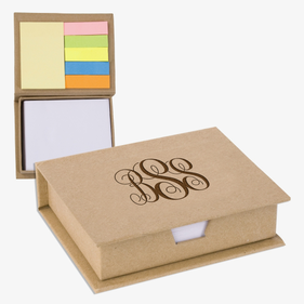 Custom Monogram Eco Cardboard Sticky Note Memo Case