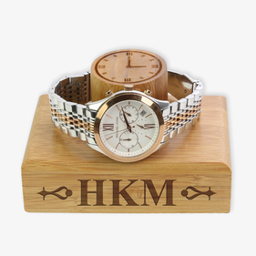 Exclusive Sale - Custom Monogram Engraved Wooden Watch Holder