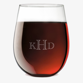 Custom Monogram Stemless Wine Glass