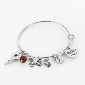 Custom Mother & Child Charm Bangle Bracelet