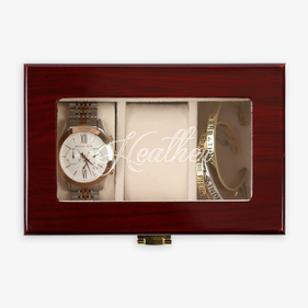 Custom Name 3-Slot Cherry Finish Wood Watch Case
