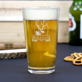 Custom Name Deer Beer Pint Glass