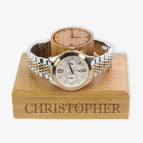 Exclusive Sale - Custom Name Engraved Wooden Watch Holder
