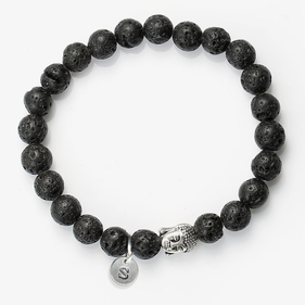 Custom Natural Stone Lava Healing Bracelet With Antique Buddha Head