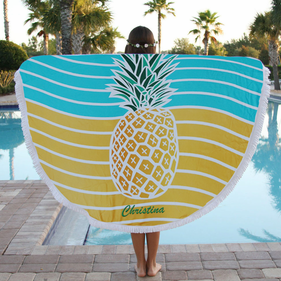 Custom Pineapple Round Terry Beach Towel