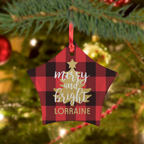 Custom Plaid Christmas Frosted Glass Ornament