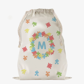 Custom Puzzle Large Drawstring Sack
