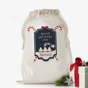 "Custom Santa's Special Gift Drawstring Sack <p><span style=""color:#ff0000;"">[SMALL SACK IS ON BACKORDER UNTIL 8/31/2017]"
