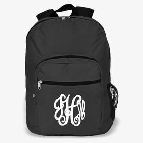 Custom Script Monogram Black Backpack