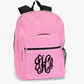 Custom Script Monogram Pink Backpack