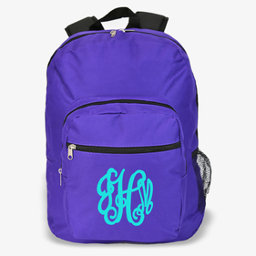 Custom Script Monogram Purple Backpack