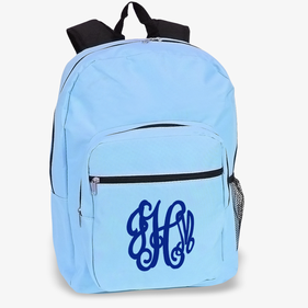Custom Script Monogram Sky Blue Backpack