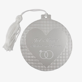 Custom Silver Plate Christmas Ball Heart Ornament
