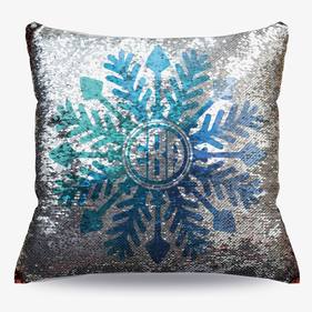 Custom Snowflake Flip Sequin Decorative Cushion Cover