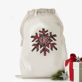 Custom Snowflake Plaid Design Drawstring Sack