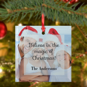 Custom Square Christmas Photo Frosted Glass Ornament