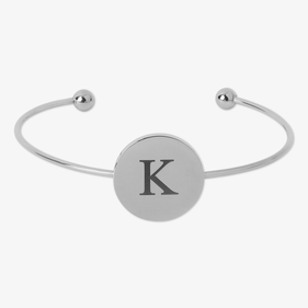 Custom Stainless Steel Single Disk Slim Bangle Bracelet