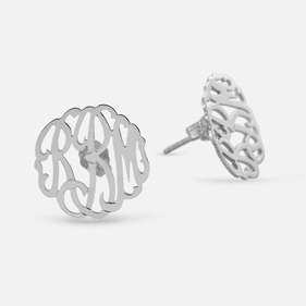 Custom Sterling Silver Monogram Stud Earrings