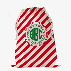 Custom Striped Monogram Christmas Large Drawstring Sack