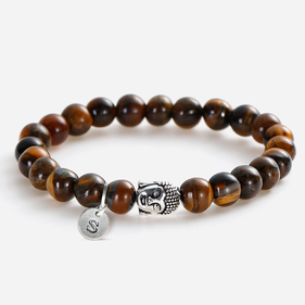 Custom Tiger's Eyes Bracelet With Antique Buddha