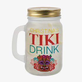 Custom Tiki Drink Frosted Mason Jar w/ Lid & Straw