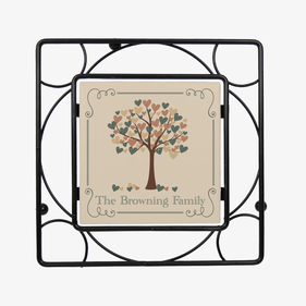 Custom Tree Of Hearts Black Iron Trivet