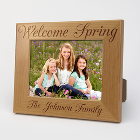 Custom Welcome Spring Wood Picture Frame