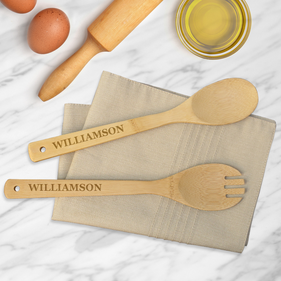 Custom Williamson Bamboo Salad Spoon & Spork Set