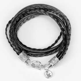 Custom Woven Black Leather Initial Wrap Charm Bracelet