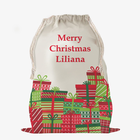 Custom Wrapped Christmas Gifts Large Drawstring Sack