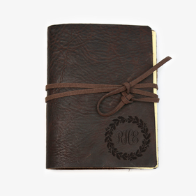 Custom Wreath Genuine Leather-Bound Large Journal