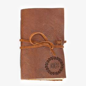 Custom Wreath Genuine Leather-Bound Mini Journal