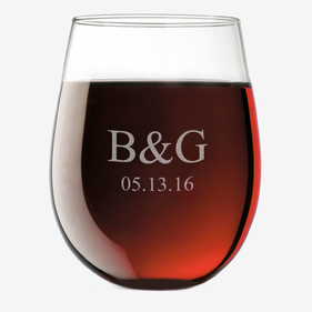 Customized Couples Initials and Date Stemless Wine Glass