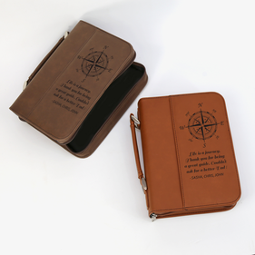Customized Leatherette Compass Book or Bible Cover