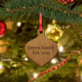 Customized Family Christmas Wood Bulb Ornament