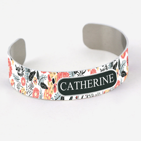 Customized Floral Aluminum Cuff Bracelet