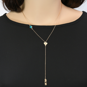 Customized Initial Swarovski Stone Mom Lariat Necklace