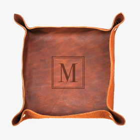 Customized Initial Genuine Leather Stash Tray