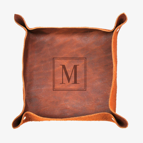 Exclusive Sale - Customized Initial Genuine Leather Stash Tray