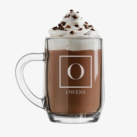 Customized Initial Hot Cocoa Glass Mug