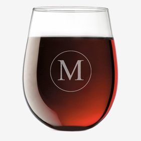 Customized Initial Stemless Wine Glass