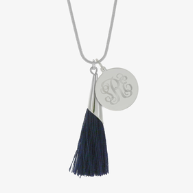 Customized Monogram Engraved Tassel Necklace