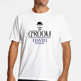 Customized Name and Date Groom T-Shirt