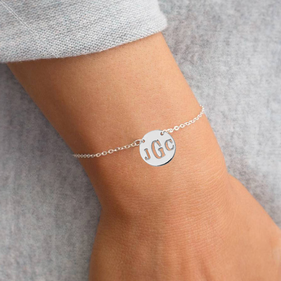 Customized Sterling Silver Block Monogram Bracelet