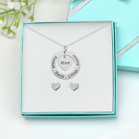 Customized Sterling Silver Mom Engraved Necklace w/ Small Heart Stud Earrings Gift Boxed Set